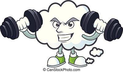 forme., fitness, bulle, mascotte, dessin animé, nuage