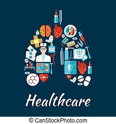 forme, healthcare, humain, poumons, icônes