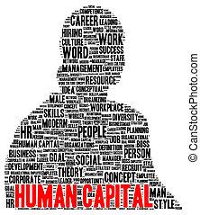 forme, mot, humain, nuage, capital