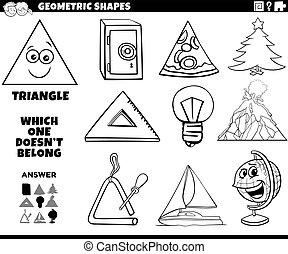 forme, pédagogique, triangle, tâche, gosses, livre coloration