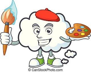 forme., peintre, bulle, mascotte, dessin animé, nuage
