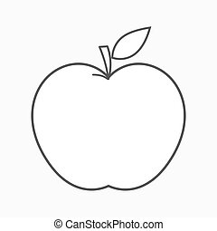 forme, vecteur, pomme, contour