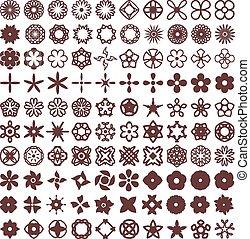 formes, 1, fleurs, vecteur, ensemble