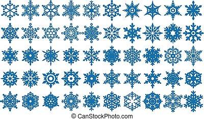 formes, 2, ensemble, flocons neige