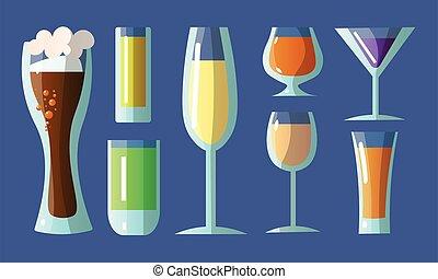 formes, dessin animé, vecteur, lunettes, alcoolique, drinks., illustration, ensemble, style., plat, divers, différent