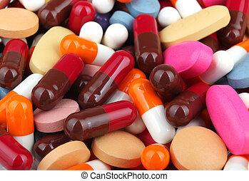 formes, groupé, pilules, ensemble, beaucoup