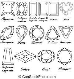 formes, leur, pierre, vecteur, noms