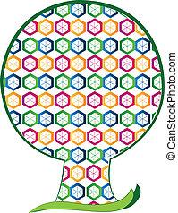 formes, logo, hexagone, arbre