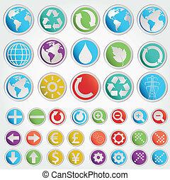 formes, symboles, ensemble, vecteur, divers