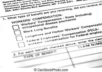 formulaire, application, compensation, ouvriers