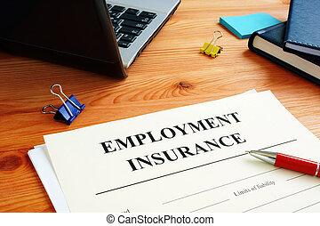 formulaire, assurance, application, signing., chômage
