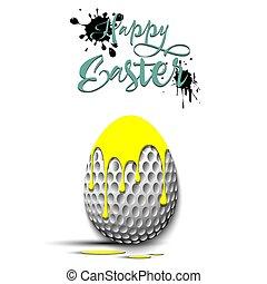 formulaire, balle, oeuf de pâques, décoré, golf