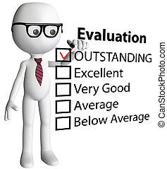 formulaire, chèque, dessin animé, directeur, rapport, évaluation, prof