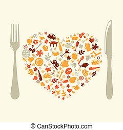formulaire, coeur, restaurant, conception