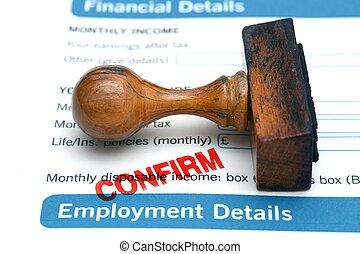 formulaire, confirmer, emploi
