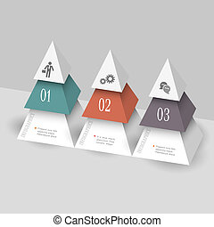 formulaire, gabarit, moderne, pyramides, infographics