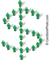 formulaire, gens, symbole argent, signe dollar, vert, stand