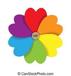 formulaire, lgbt., coeur, pétales, inscription, couleurs, fleur