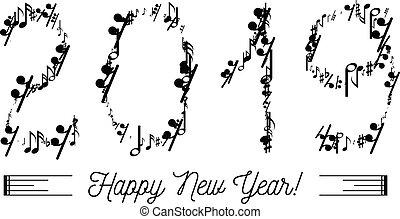 formulaire, notes, 2019, nombres, année, musical
