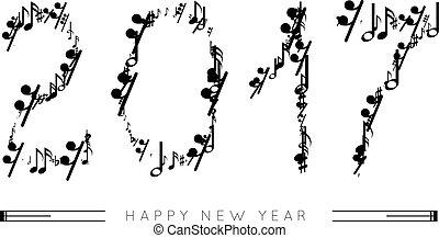 formulaire, notes, nombres, année, 2017, musical