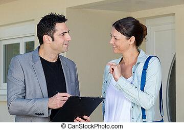 formulaire, propriété, remplissage, maison, vrai, estimation, devant, homme