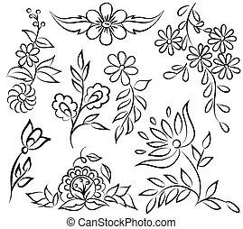 formulaire, résumé, angle., isolé, arrangement, arrière-plan noir, floral, blanc, frontière