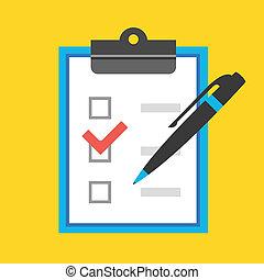 formulaire, stylo, vecteur, checkboxes