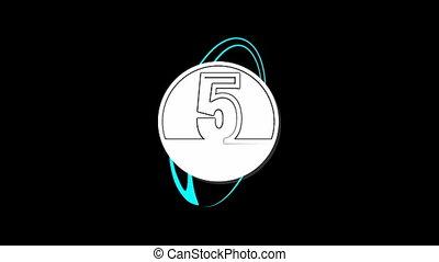 formulaire, une, compte rebours, cinq, nombres, dessin animé
