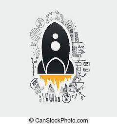 formulas:, business, dessin, fusée