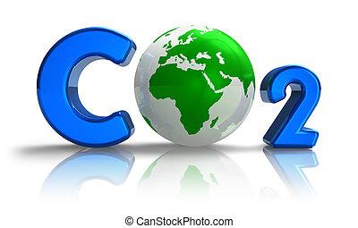 formule, co2, atmosphérique, concept:, pollution