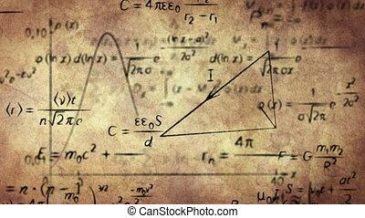 formules, papier, vieux, physique, math