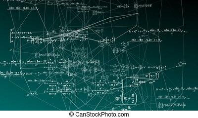 formules, science, mathématique, boucle, espace, mouvement, vidéo, concepts., recherche, développement