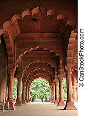 fort, delhi, inde, rouges