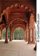 fort, delhi, vieux, inde, rouges