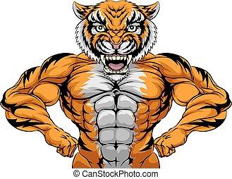 fort, mascotte, tigre, sports