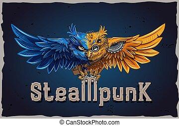 fort, style, font., vendange, steampunk, métallique, police