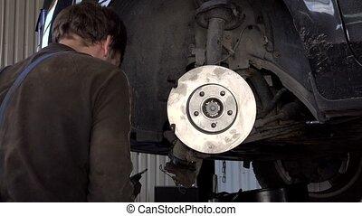 fortifier, auto, coussins, disques, frein, mécanicien, voiture