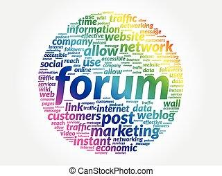 forum, concept affaires, mot, étiquette