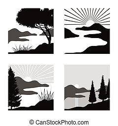 fot, stylisé, usage, pictograms, côtier, illustrations, paysage