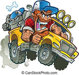 fou, camion, pick-up, redneck