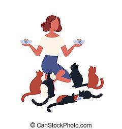 fou, conjugal, jeune, style., rigolote, alimentation, elle, isolé, feeders, arrière-plan., tenue, blanc, pets., plat, femme, nourriture, illustration, animals., caractères, dame, dessin animé, chat, vecteur