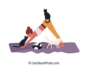 fou, gymnastique, conjugal, jeune, rigolote, yoga, elle, isolé, arrière-plan., blanc, pets., exercice, plat, femme, animals., caractères, dame, dessin animé, pratiquer, illustration., exécuter, chat, vecteur, ou