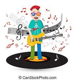 fou, joueur basse, notes, chanteur, guitare, enregistrement, vinyle, fond, personnel