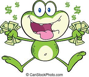 fou, sauter, vert, espèces, grenouille