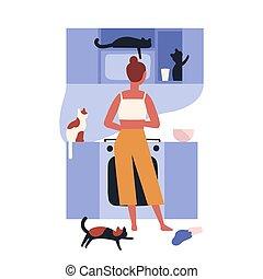 fou, scène domestique, femme, maison, vue., style., debout, cooking., elle, chouchou, owner., plat, solitaire, coloré, illustration, dos, animals., dame, dessin animé, cuisine, entiers, chat, vecteur, kitties