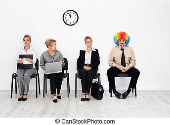 foule, -, clown, une, métier, there's, chaque, candidats