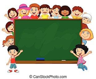 foule, dessin animé, chalkbo, enfants