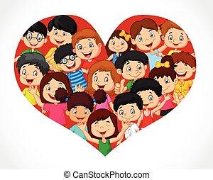 foule, dessin animé, coeur, enfants