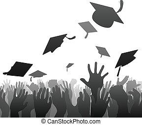 foule, diplômés, remise de diplomes