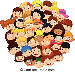 foule, enfants, dessin animé